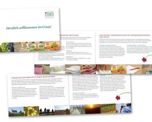 Layout / Grafikdesign einer Imagebroschüre für »Das Crass – Wein Wirtschaft Hotel« in Nieder-Olm