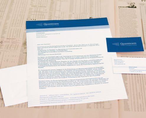 Design Geschäftsausstattung / Visitenkarte und Briefbogen für Quanteam AG, Frankfurt
