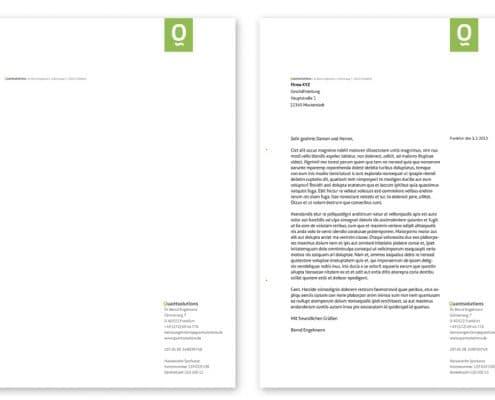 Design Briefbogen Quantsolutions, Frankfurt