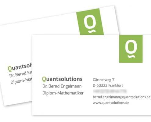 Design Visitenkarten Quantsolutions, Frankfurt