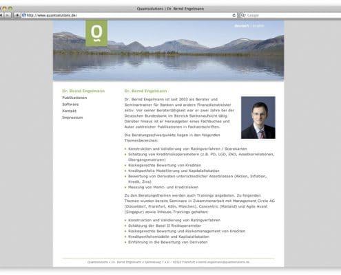 Webdesign Quantsolutions, Frankfurt