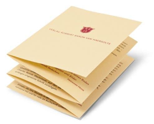 Design Werbefolder für Verlag Robbert Baron van Haersolte, Offenbach