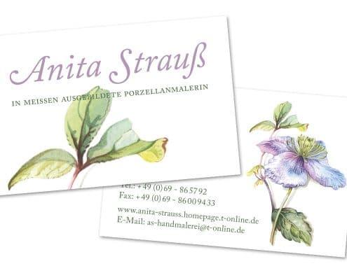 Design Visitenkarten für Porzellanmalerin Anita Strauß