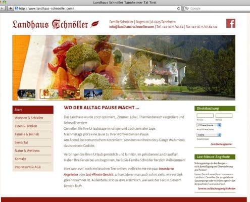 Webdesign für Landhaus Schnöller