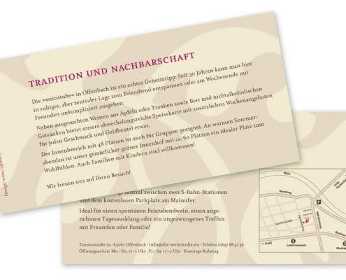 Design und Text Werbeflyer für »die weinstube«, Offenbach