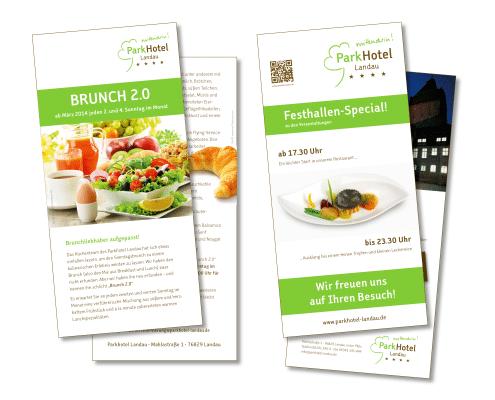 Design von Flyern zu verschiedenen Themen für Parkhotel Landau