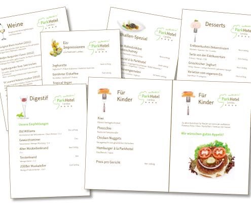 Design Speisekarten für Parkhotel Landau
