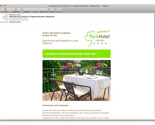 Design Newsletter für Parhotel Landau