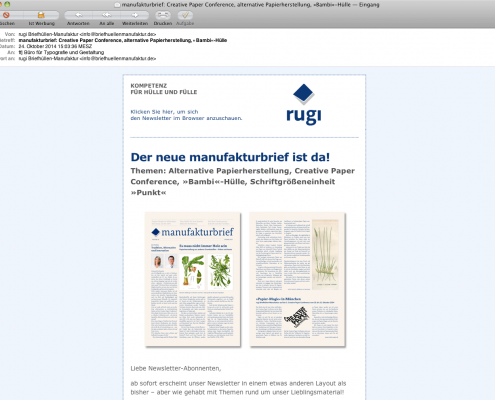 Design Newsletter für rugi Briefhüllen-Manufaktur