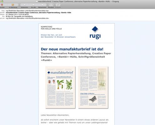 Design Newsletter für rugi Briefhüllen-Manufaktur