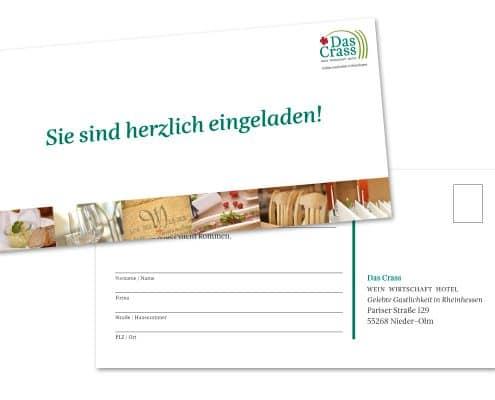 Design der Einladung für Eröffnung und Pressekonferenz »Das Crass«