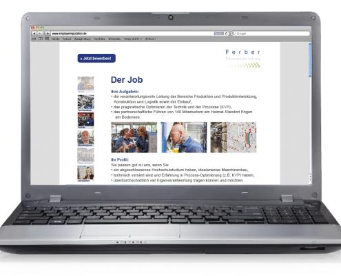 Website Stellenausschreibung für Ferber Personalberatung (Notebookansicht)