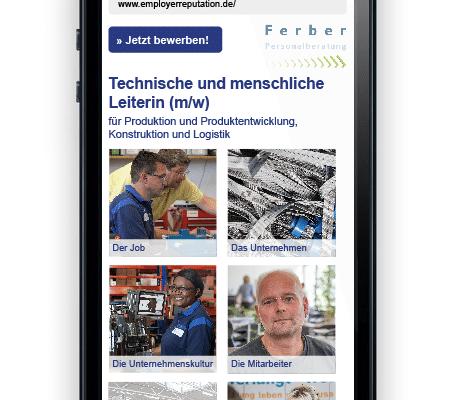 Website Stellenausschreibung für Ferber Personalberatung, Startseite (Smartphoneansicht)