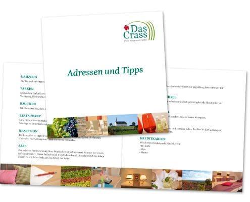 Broschüre »Leitfaden« für das Hotel / Restaurant »Das Crass« mit wichtigen Informationen