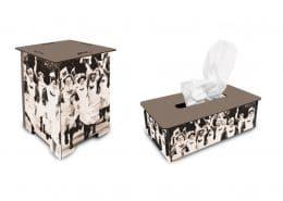 3D-Layout für Mabuse-Verlag, Hocker und Tissue-Box mit dem Motiv »Jubelnde Schwestern«