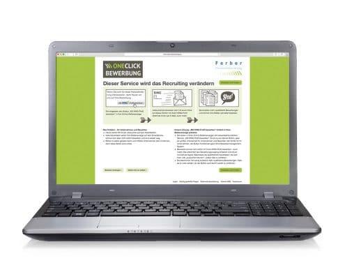 Website OneClick-Bewerbung, Notebook-Ansicht