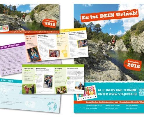Programmfolder und Plakat für die Kinder- und Jugendfreizeiten des Stadtjugendpfarramtes Wiesbaden