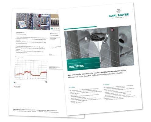 Layout KARL MAYER Factsheet Multitens, Vorder- und Rückseite