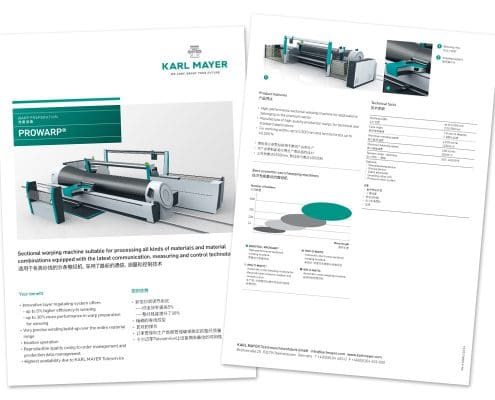 Layout KARL MAYER Factsheet ProWarp, Vorder- und Rückseite