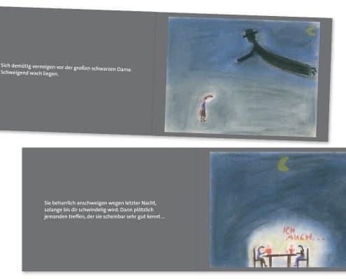 Buchdesign »Schwarze Dame« für Mabuse-Verlag, Innenseiten