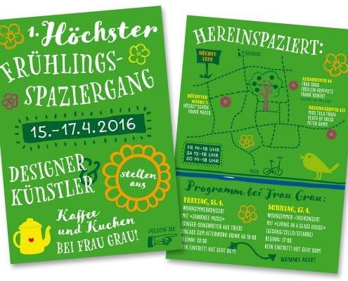 Flyer und Plakate für Höchster Frühlingsspaziergang 2016, Vorder- und Rückseite