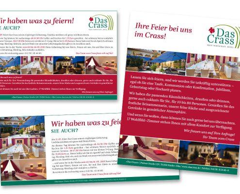 """Imageanzeigen für das Restaurant / Hotel »Das Crass« in Nieder-Olm / Rheinhessen"""""""