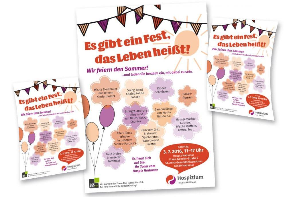 Design von Flyern und Plakaten für das Sommerfest des Hospiziums Hadamar