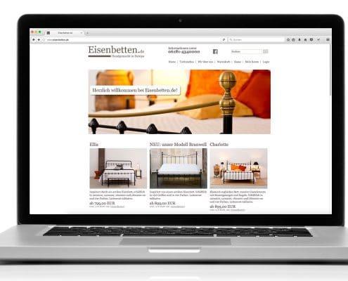Webshop für Eisenbetten.de, Ansicht Notebook