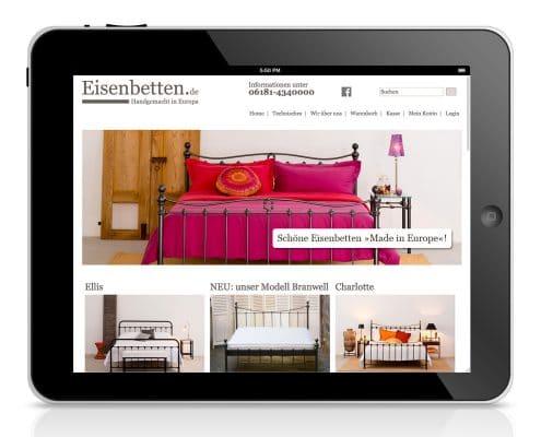 Webshop für Eisenbetten.de, Ansicht Tablet