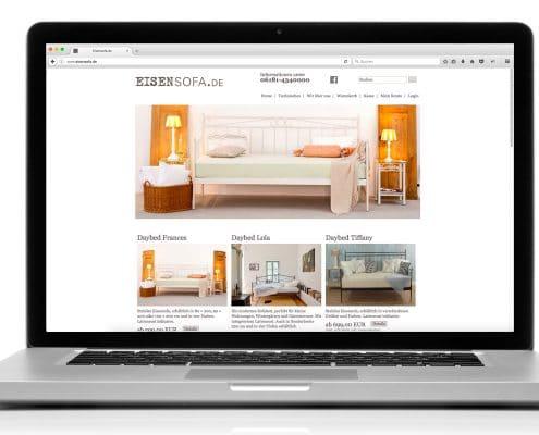 Website Eisensofa.de, Notebook-Ansicht