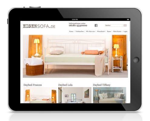 Website Eisensofa.de, Tablet-Ansicht