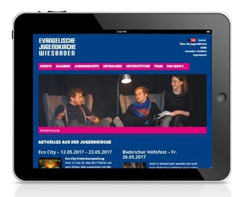 Webdesign Evangelische Jugendkirche, Tablet-Ansicht