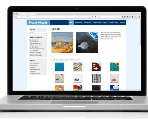 Webdesign Frank Mayer, Notebook-Ansicht