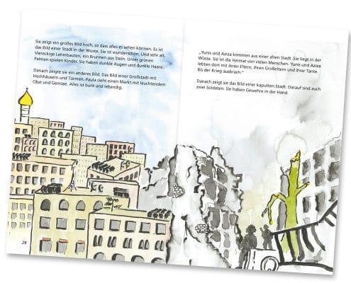 Mabuse-Verlag Kinderfachbuch Yunis und Aziza, Seite 28/29