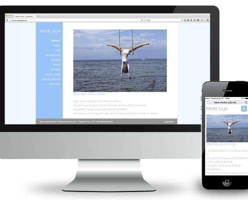 Webdesign für Luftartistin Meike Silja – Ansicht Monitor und Smartphone