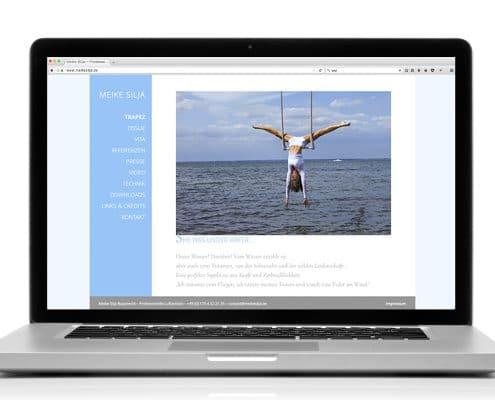 Webdesign für Luftartistin Meike Silja – Ansicht Notebook