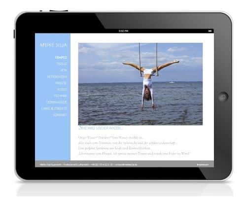 Webdesign für Luftartistin Meike Silja – Ansicht Tablet
