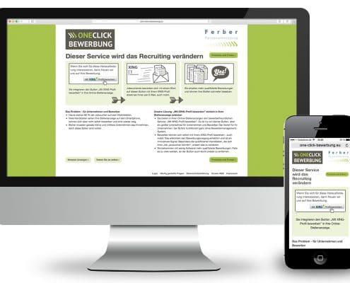 Website OneClick-Bewerbung, Ansicht Monitor und Smartphone