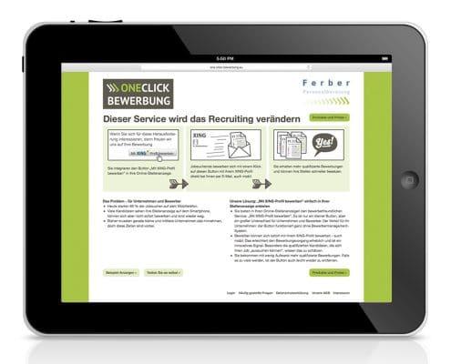 Website OneClick-Bewerbung, Ansicht Tablet