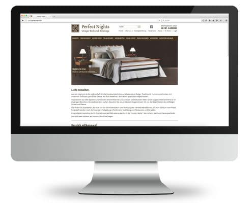 Webshop für Perfect Nights, Ansicht Monitor