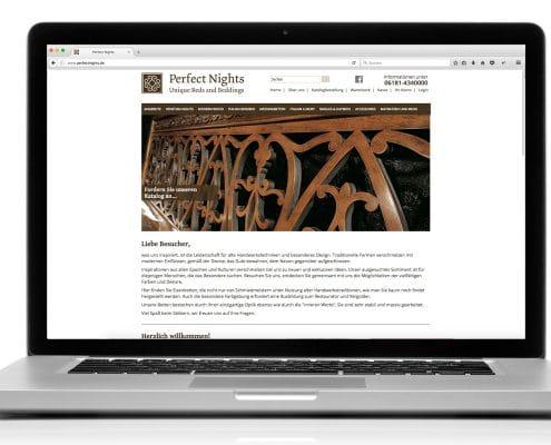 Webshop für Perfect Nights, Ansicht Notebook