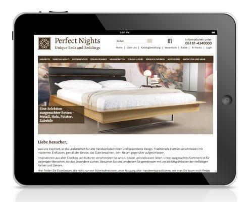 Webshop für Perfect Nights, Ansicht Tablet