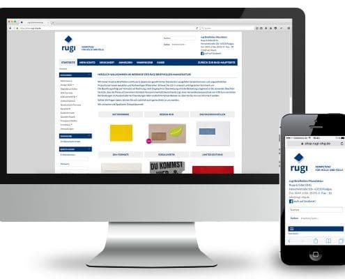 Design für Webshop der rugi Briefhüllen-Manufaktur, Ansicht Monitor und Smartphone