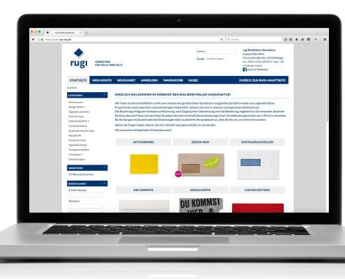 Design für Webshop der rugi Briefhüllen-Manufaktur, Ansicht Notebook