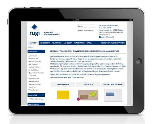 Design für Webshop der rugi Briefhüllen-Manufaktur, Ansicht Tablet
