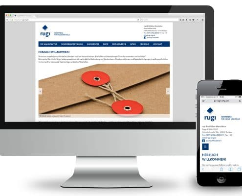 Webdesign für rugi Briefhüllen-Manufaktur, Ansicht Monitor und Smartphone