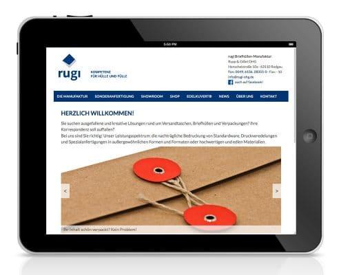 Webdesign für rugi Briefhüllen-Manufaktur, Ansicht Tablet