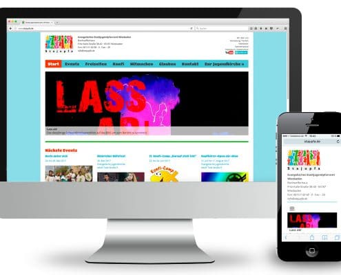 Webdesign Evangelisches Stadtjugendpfarramt Wiesbaden, Ansicht Monitor und Smartphone