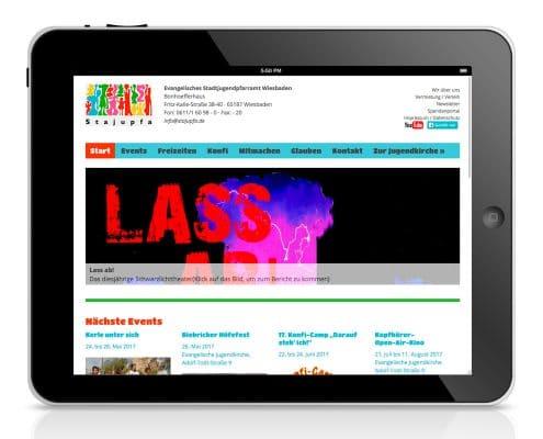 Webdesign Evangelisches Stadtjugendpfarramt Wiesbaden, Tablet-Ansicht