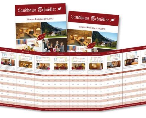 Preisliste Landhaus Schnöller Innenseite